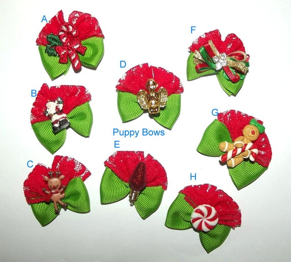 Assorted Christmas dog bows for Yorkies, Maltese and Shih Tzu
