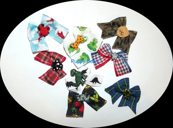 Puppy Bows ~ BOYS set of 8 bow green black blue ~USA seller   (fb24)