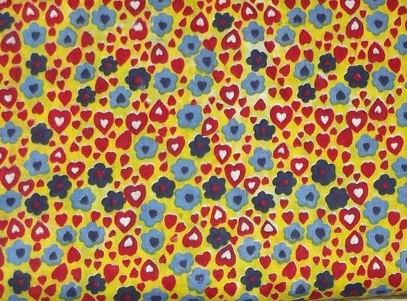 """Puppy Bows ~ fabric craft supplies RED YELLOW hearts blue flowers 2 yards x 45"""""""