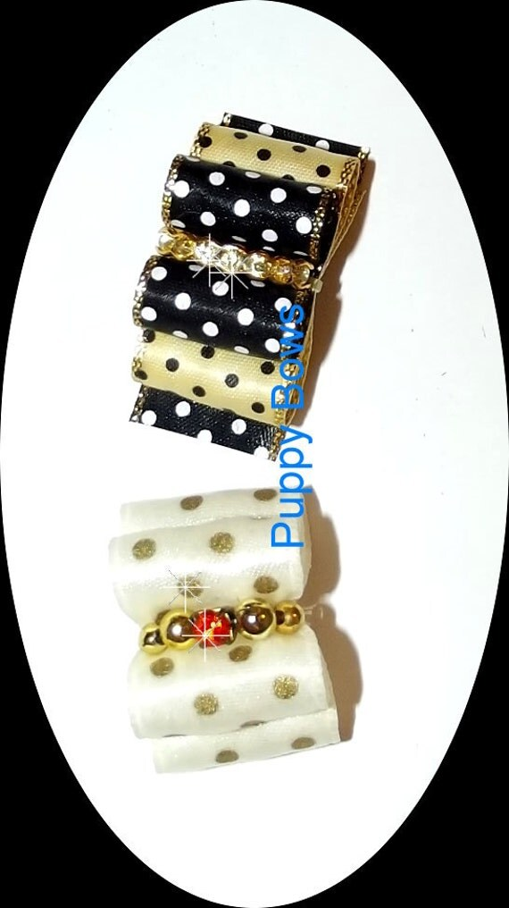 "Puppy Bows ~BLACK gold dots cream gold dots rhinestone centers 7/8"" Shih Tzu bands or barrette dog grooming  (fb16)"