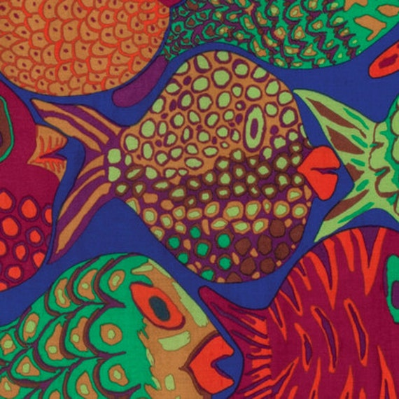 SHOAL BLUE bm051 Fish by Brandon Mably for Kaffe Fassett Collective Sold in 1/2 yd increments