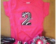 ON SALE Hot Pink and Zebra Scrap Fabric Birthday Tutu Outfit