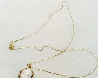Vintage 14K Gold Necklace and Cameo Pendant featuring String of Seed Pearls