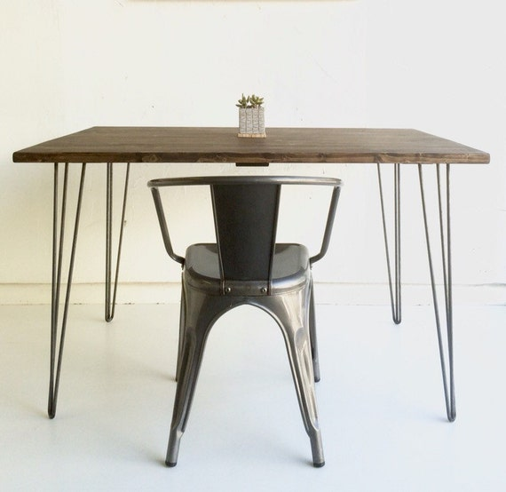 32x48 kitchen table with steel hairpin legs by groveandanchor. Black Bedroom Furniture Sets. Home Design Ideas