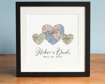 3 Heart Map Print, Valentine's Day Gift, Personalized Map Art, Wedding Gift Art, Custom Anniversary Print, Gift for Couple