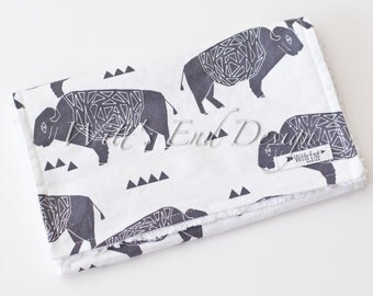 Buffalo Burp Cloth, Modern Baby Burp Cloth, Mix & Match-Super Absorbent Cotton Chenille, Burp Rag, Baby Shower Gift-BUFFALO by Andrea Lauren