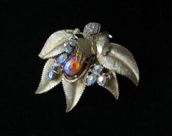 "GOLD FLOWER BROOCH/ Repurposed Vintage/ Rhinestones/ Rhinestone Brooch/ Butterfly/ ""Morning Dew""/ Aurora Borealis Brooch/ Bridal Jewelry"