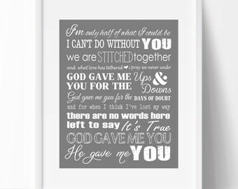 "BLAKE SHELDON Lyrics Print ""God gave me you"" (instant download) - makes a great gift!"