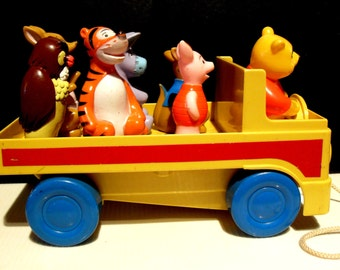 """Vintage Walt Disney Pull Toy Truck """"Winnie The Pooh"""" and Freinds"""