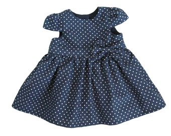 Baby Girl Dresses - Navy Blue Polka Dot Baby Dress - Navy Blue Baby Girl Dress - Dress for Baby Girl - Baby Party Dresses