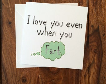 Anniversary Card, Love Card, Valentines Day Card, Funny Card, Fart Card, Valentines Card