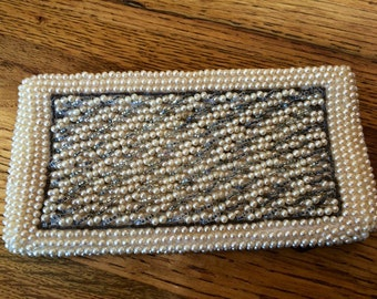 Vintage Off White Beaded Purse