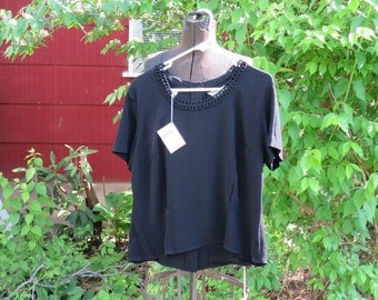 "SALE Vintage 1950s NOS top black blouse short sleeve acetate rayon size 40 43"" bust 39"" waist original tags Morlove Harveys Nashville"