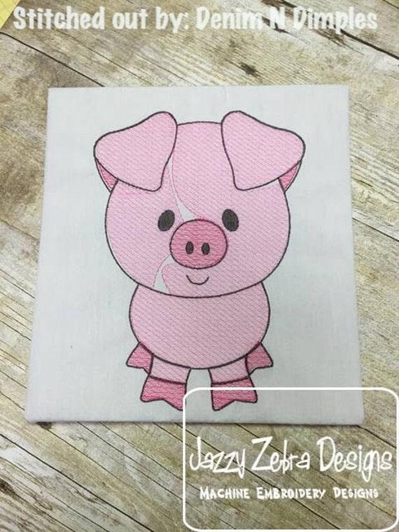 Pig Sketch Embroidery Design - farm Sketch Embroidery Design