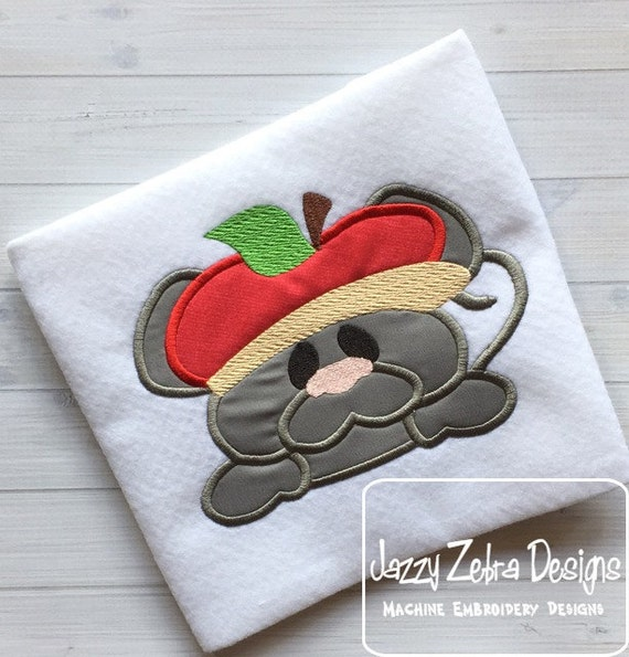 Mouse with Apple Hat Appliqué embroidery Design - mouse appliqué design - apple appliqué design - school appliqué design - fall appliqué