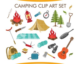 Camping Hiking Clipart Set 35 Digital Clip Art Elements PNG Printable Supplies
