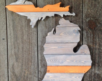 Hand Cut Wooden Michigan Wall Art: The Grand Rapids-Industrial finish with a band of color. Burnt orange shown.