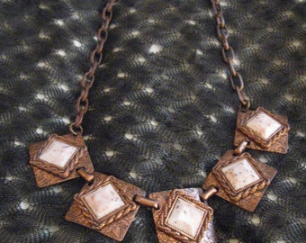 Incredible Vintage 70's Link Necklace, Stone-Copper