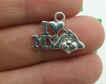 "10 ""I Love My Dog"" Charms, Love My Dog Charms, Silver Pet Charms, Animal Charms (1-1260)"