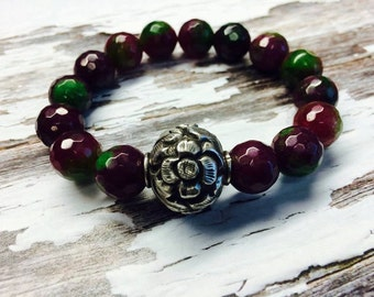 Sale // AAA Grade  Hills Tribe & Ruby in Zoisite natural gemstone a fine silver Statement Bracelet