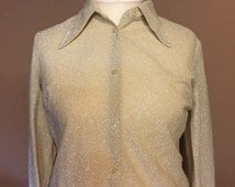 Vintage 1970s Gold Blouse