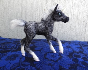 Needle felted wool Unicorn Foal for deniseoppenheim, felted by Carol Rossi