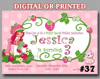 Strawberry Shortcake Invitations YOU Print Digital File or PRINTED Birthday Party Invitations