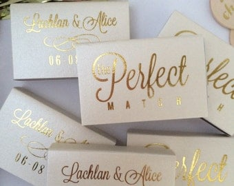 Personalized Wedding Matches Custom Printed Lots of Colors and Designs to choose from! The PERFECT MATCH! Metallic Gold Foil Hot Pressed