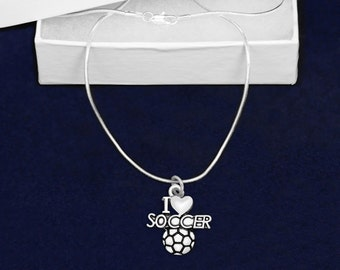 12 I Love Soccer Necklaces In Gift Boxes (12 Necklaces) (N-04-SPS)