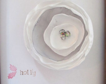 FREE U.S. SHIPPING! Large white and gray flower brooch pin with glass bead embellishment