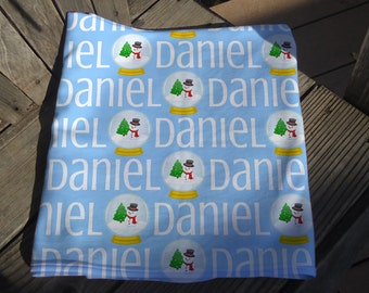 Christmas Holiday Baby Blanket - Personalized Winter Receiving Blanket - Snowglobe Name Blanket - Swaddling Blanket - Snowman Baby Blanket