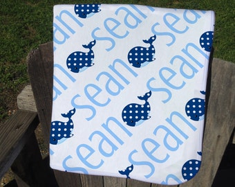 Personalized Baby Blanket with Whale - Boy Whale Receiving Blanket - Whale Name Blanket for Boys - Infant Swaddling Blanket - Whale Blanket