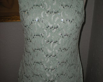 Elegant Mint Green Long Floral Lace Gown with Silver Sequins Open Back Size 11 by Blondie nites Stacy Sklar Made in USA