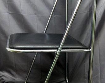 RARE 4 Mid Century Modern Folding Italy Arrben Chairs Set Black Chrome LEATHER