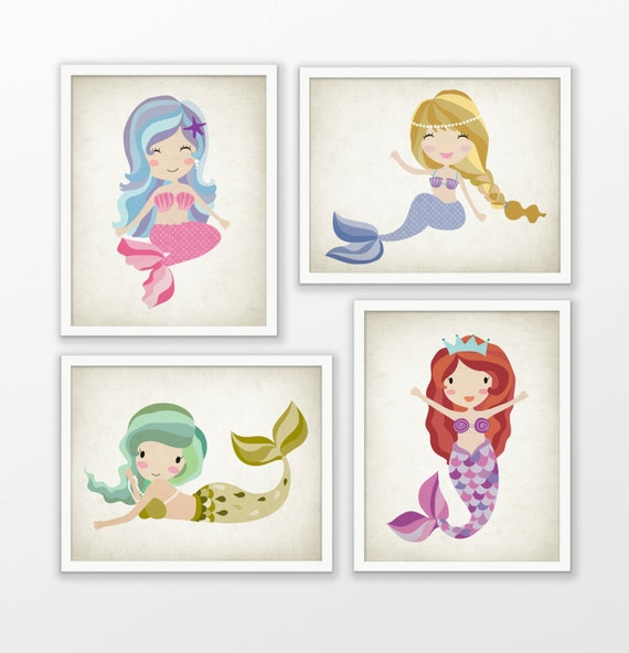 Mermaid girls nursery print set of 4 mermaid art baby for Mermaid bathroom decor vintage
