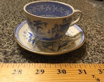 Antique Blue White Tea Cup Saucer