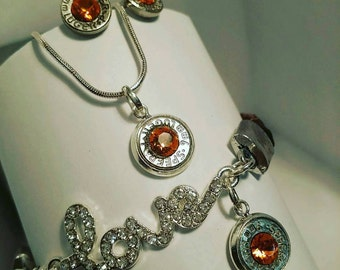 Bullet jewelry necklace in silver customized to your choice of Swarovski stone colors available in 2nd photograph.