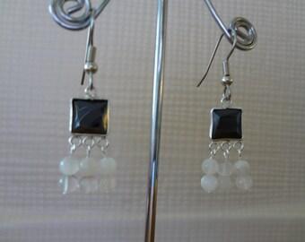 Moonstone Earrings - Sterling Silver - Black Cubic Zirconia - Dangle & Drop