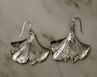 Sterling silver Ginkgo Biloba earrings