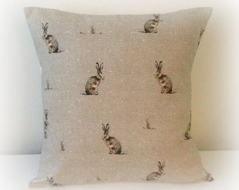 "Handmade Hartley Hare Cushion Cover 16""  Cotton Pillow Rabbit"