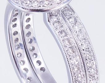 18K White Gold Round Cut Diamond Engagement Ring and Band Bezel Set 1.20ct