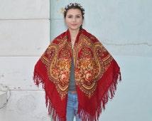 Vintage Ukrainian shawl, Russian Scarf shawl, red floral scarf, head scarf, beautiful Shawl, red shawl with fringe, Babushka Russian