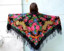 Vintage collection Russian shawl, black Wool shawl, Floral Shawl scarf, Ukrainian shawl, Babushka Russian