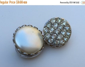 CIJ Earrings Sarah Coventry Day to Night Reversible Clip Earrings Shoe Ornaments 50s Faux Pearl and Rhinestones