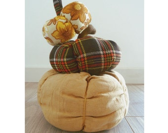 Plush Fabric Pumpkin in Vintage Brocade Fabric * LUXE * Halloween thanksgiving decor