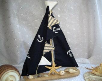 Driftwood Sailboat.  Nautical Decor.  Beach Decor.  Shabby Chic Sailboat.