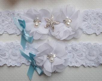 Beach Wedding Garter, Coral Garter Set, Starfish Garter set, Beach Garter, Beach Theme Wedding