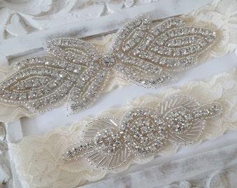 Rustic Garter Set, Ivory Wedding Garter Set, Lace Bridal Garter, Rustic Wedding Garter Set, Rustic Wedding -Style 820