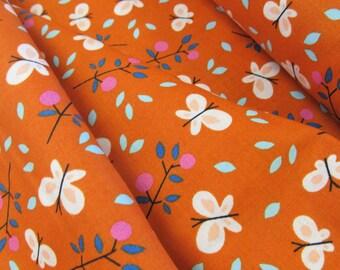 Spring Walk - Butterfly Garden(Orange Background) - Organic Fabric - Little Cube - Cloud 9