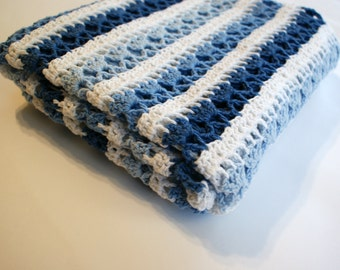 Crochet Baby Blanket, Striped Baby Blanket, White and Blue Baby Blanket, Baby Boy Blanket, Crochet blanket for Boys
